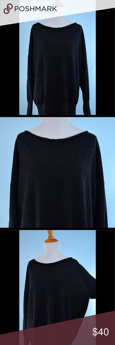 EILEEN FISHER gray stripe slouch thin sweater S EILEEN FISHER gray black stripe slouch thin sweater Size Small, 100% merino wool, length 29 inches, bust 36 inches   Very small thread pull at back can't be seen - make offer! Eileen Fisher Sweaters