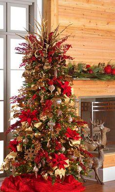 124 buffalo check christmas tree with ribbon - page 5 > Homemytri. Antler Christmas Tree, Diy Christmas Tree Topper, Diy Tree Topper, Elegant Christmas Trees, Red And Gold Christmas Tree, Ribbon On Christmas Tree, Christmas Tree Design, Christmas Tree Themes, Rustic Christmas