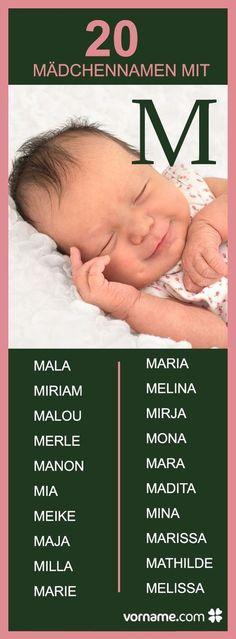 """Malou, Melissa oder Maria - hier findest Du viele Mädchenvornamen mit dem Anfangsbuchstaben """"M"""". Welchen suchst Du für Dein Baby aus?"""