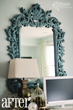 ornate mirror painted with annie sloan chalk paint provence
