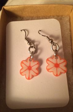 Orange and White Creamsicle Flower Earrings by inthespicerack