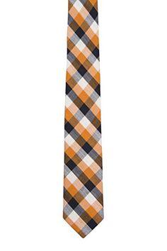 Slim necktie - Plaid in beige, brown, green and orange Notch