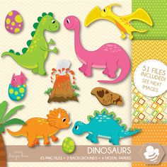 Dinosaur Clipart, commercial use, dinosaur digital clip art, Volcano, Tyrannosaurus Rex, prehistoric clip art, CL0040 by Sweetdesignhive on Etsy Planner Stickers, Baby Dinosaurs, Party Banners, Digital Scrapbooking Layouts, Dinosaur Party, Busy Book, Photoshop Elements, Embroidery Files, Baby Bottles