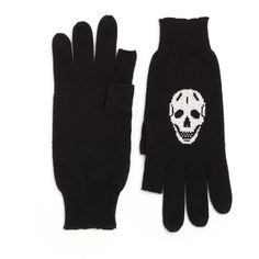 360 Cashmere Luther Cashmere Skull-Print Texting Gloves ($130) ❤ liked on Polyvore featuring accessories, gloves, apparel & accessories, black latte, black cashmere gloves, skull gloves, black gloves und cashmere gloves