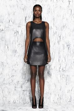 Jonathan Simkhai Pre Fall 14- Black leather curve tank and leather mesh skirt