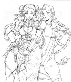 Commisison for This is the lineart version, not the finshed one These girls are Chunly and Cammy foem Street Fighter, if someone haven'nt recognized the. Chunli and Cammy (lineart) Comic Books Art, Comic Art, Book Art, Character Concept, Character Art, Concept Art, Coloring Books, Coloring Pages, Colouring