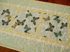 Butterfly Table Runner in Aqua Yellow and Grey by susiquilts