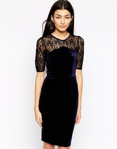 Sugarhill Boutique Martha Velvet Dress With Lace Sleeves