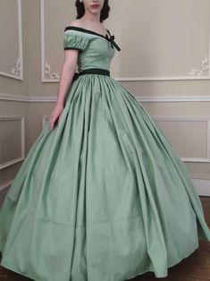 Robe de jour 1850 en coton Old Dresses, Formal Dresses, Southern Belle Dress, Fantasy Dress, Vintage Gowns, Dream Dress, Outfit Sets, Designer Dresses, Ball Gowns