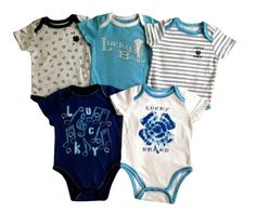 Lucky Brand Baby 5pc Short Sleeve Bodysuits Layette Set 5 Piece Lucky Brand short sleeve bodysuits set. Easy on/off neckline and snap bottom. 60% Cotton, 40% Polyester. Machine Washable. Fit for 6-9 months.  #LuckyBrand #Apparel