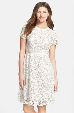 Adrianna Papell Scalloped Lace Dress (Regular & Petite) | Nordstrom