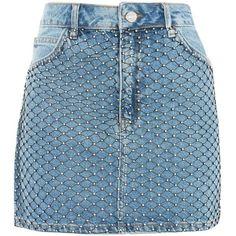 Topshop Moto Diamond Fishnet Skirt (80 CAD) ❤ liked on Polyvore featuring skirts, mini skirts, topshop, mid stone, topshop skirts, blue skirt, short skirts and short blue skirt
