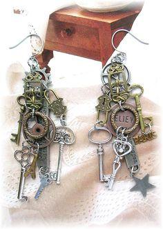 Steampunk Cog Wheel Buckle Antique Key Asymmetrical Earrings Mismatched Stars Paris Believe Dangle Earrings