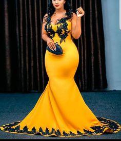 Trending aso ebi dress designs for lovely ladies African Prom Dresses, African Wedding Dress, Latest African Fashion Dresses, African Dress, African Weddings, Yellow Evening Dresses, Yellow Wedding Dress, Gown Wedding, Wedding Reception
