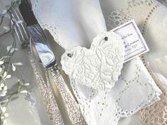 Baptism Napkin Rings / Wedding Favors Set of 12 Imprinted Heart Salt Dough Ornaments