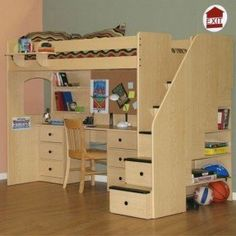 bunk-beds-with-steps-and-couch-full-loft-bed-with-stairs-woodworking-project-plans.jpg (287×287)