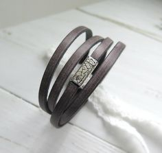 Leather Wrap Bracelet Women - Leather Bracelet - Rustic Brown - Boho Wrap Bracelet - Multistrand Cuff - Bohemian Jewelry - Stocking Stuffer