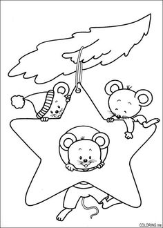 Christmas Ornament Coloring Pages | star ornament mice coloring page | christmas