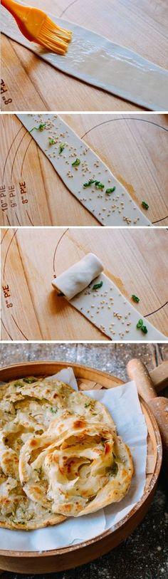 ☆☆ ShouZhuaBing 手抓饼, Chinese Pancake  -  yum!! Great comfort food carb fix  mmmm