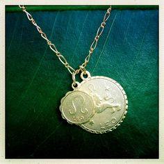 LEO~Zodiac Astrology Double  Charm Gold Necklace  Birthday by KF8shop