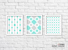Printable Geometric Wall Art Turquoise and Grey Wall by eDesignss Turquoise Wall Decor, Turquoise Walls, Geometric Wall Art, Grey Walls, Printables, Unique Jewelry, Handmade Gifts, Etsy, Vintage