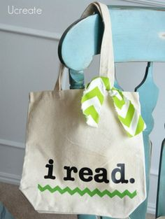 Library Tote Bags with card holder!