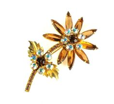 DeLizza and Elster Juliana Topaz AB Rhinestone Flower Brooch - available at Anna's Vintage Jewelry on Ruby Lane.  http://www.rubylane.com/item/511278-RL1469/DeLizza-Elster-Juliana-Topaz-AB