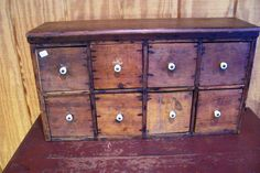 Primitive 8 Drawer 1800's Spice Box Ruby Lane