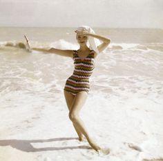 Model in Diamond-Patterned Swimsuit. Roger Prigent