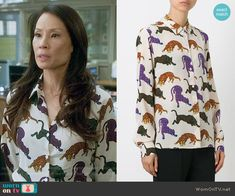 Joan's panther print shirt on Elementary.  Outfit Details: https://wornontv.net/56109/ #Elementary