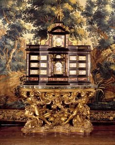 Cabinet possibly by Giacomo Hermano. It is decorated with water-colours of biblical scenes. Purchased in 1767 for Christiansborg Palace. Cabinet Making, Italian Furniture, Danish, Big Ben, Rome, Objects, Clock, Colours, Cabinets
