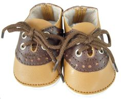 """Brown Tan Saddle Shoes for 18"""" American Girl Doll Boy Logan Clothes"""