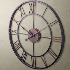 LARGE Metal Wrought Iron WALL CLOCK French Provincial Roman Numerals Bronze NEW #Antique
