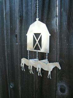 Barn and Horses Wind Chime by TheMetalPeddler on Etsy, $28.00
