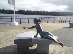 Statue near the river Foyle