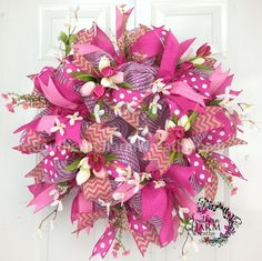 DELUXE Deco Mesh CHRISTMAS Wreath Hot Pink Lime Green For Door or Wall Glitter & Glam by www. Description from pinterest.com. I searched for this on bing.com/images