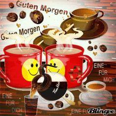 Guten Morgen...good morning...der Kaffee ist fertig...The coffee is ready.