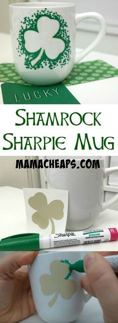 Shamrock Sharpie Marker Mug - St. Patrick's Day Craft (Silhouette Tutorial)
