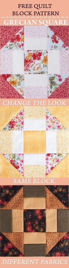 FREE Quilt Block Pattern: Grecian Square | Nancy's Notions | Quilting | Sewing