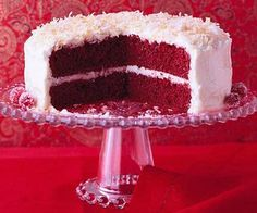 Fabulous Red Velvet Cake  We gussied up chocolate cake mix with sour cream and red food coloring, then crowned this cake with a white chocolate-cream cheese frosting and toasted coconut.