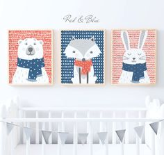 Blue & Red Woodland Nursery Decor | Woodland Animal Prints | Woodland Nursery Prints - Set of 3.   All of our prints are available in digital printable download format here: https://www.etsy.com/uk/listing/509297291/printable-wall-art-purchase-a-digital?ref=shop_home_feat_1    This listing is for all 3 prints - Rabbit, Polar Bear and Fox. The print set features a cute collection of whimsical woodland animals.    Once purchased just let me know if you wis...