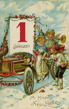 Vintage Antique Christmas New Year Postcard:January Champagne Toast,Car,Snow Vintage Happy New Year, Happy New Year Images, Happy New Year Cards, New Year Greetings, Happy New Years Eve, Birthday Greetings, Vintage Greeting Cards, Vintage Christmas Cards, Vintage Holiday