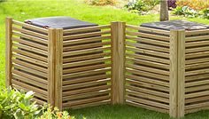 """Screen - sandwich slats between 1x2 brds. Hinge sections to get """"w"""" for stability and to best hide 2 cans."""