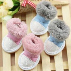 Cat Dog Shoes Fuzzy Slip-Resistant Winter Cotton Snow Boots Pet Shoes