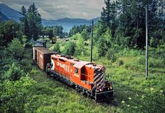 CP, Rosebery, British Columbia, 1983 Northbound Canadian Pacific Railway local freight train led by GP9 no. 8820 at Rosebery, British Columbia, on July 14, 1983. Photograph by John F. Bjorklund, © 2015, Center for Railroad Photography and Art. Bjorklund-38-08-10