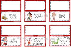 Printable JAKE and the NEVERLAND PIRATES food labels, pirate party, food labels