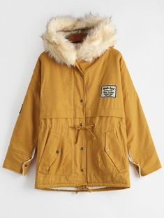 SHARE & Get it FREE | Patchwork Faux Fur Trim Hooded Shearling Coat - GingerFor Fashion Lovers only:80,000+ Items • New Arrivals Daily Join Zaful: Get YOUR $50 NOW!