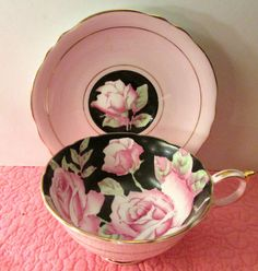 Antique Cup Saucer English Paragon China Big Pink Roses Black Gold Art Deco | eBay
