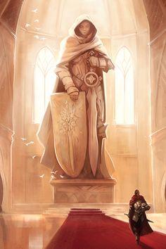 estatua de Tenebreu o guerreiro mestre. localizada no palácio de Tenébrian
