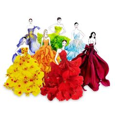 Real Flower Petals Turned Into Fashion Design Illustrations by Young artist Grace Ciao from Singapore. Arte Fashion, Floral Fashion, Fashion Design, Flower Petals, Flower Art, Grace Ciao, Fashion Illustration Dresses, Arte Floral, Art Plastique